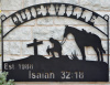 Metal art Family Hanging sign with cowboy & cross