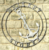Anchor and rope. Double Ring Metal art sign.