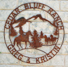 Metal art western style ranch sign